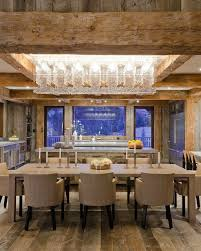 fabulous dining room area and kitchen in this modern rustic lodge