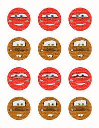 disney cars lightning mcqueen tow mater face inspired edible icing cupcake decor toppers dc5c