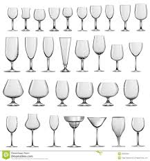 set of empty glass goblets and wine glasses stock illustration