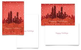 indesign template greeting card cityscape winter holiday greeting card template word publisher