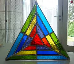 octagon stained glass window magic triangle vibrant rainbow stained glass suncatcher