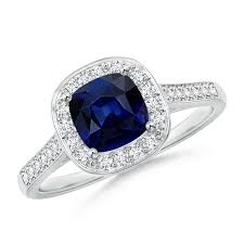 saphire rings classic cushion blue sapphire ring with diamond halo angara