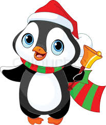 cute christmas penguin with jingle bell stock vector colourbox