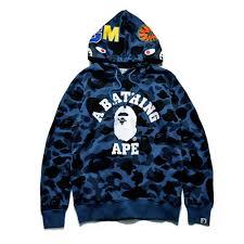 a bathing ape bape shark head camo miltary pullover hoodie
