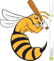 killer bee baseball player bat cartoon stock vector image 52401192