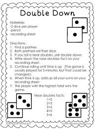 freebie double down game to practice adding near doubles or