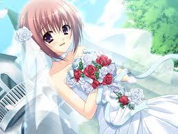 wedding dress anime wallpaper girl pink hair flower bouquet wedding dress hd