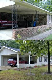 metal car porch this brick rancher had dated and metal posts on the open carport a