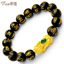 gold lucky bracelet images Tiffany t0104 green jade inlaid lucky gold bracelet male models jpg