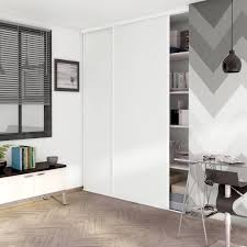 porte placard chambre porte de placard coulissante effet frêne blanc spaceo l 98 7 x h