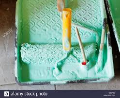 plastic paint tray with green emulsion paint and paintbrushes