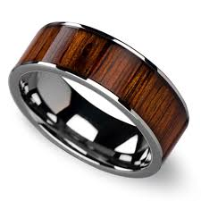 wood mens wedding bands wide koa wood inlay men s wedding ring in tungsten