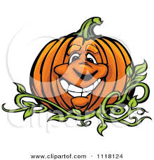 clipart of a scared halloween pumpkin character royalty free