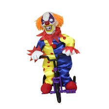 totally ghoul halloween animated clown on tricycle