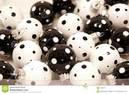 picture of black and white polka dot christmas ornaments all can
