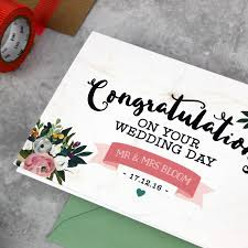 congratulations on your wedding personalised congratulations on your wedding day card by