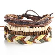 leather bracelet sets images Fashion 1 set 4pcs men 39 s bracelet multi layer leather bracelet jpg