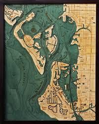 Sarasota Florida Map Siesta Key And Sarasota Florida Wood Chart Wooden Map