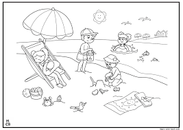 Summer Coloring Pages Kids On Beach Summertime Coloring Pages