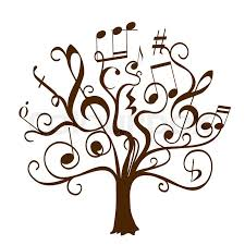 tree with curly twigs with musical notes and signs as