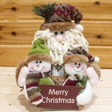 santa snowman family portrait rag doll decoration merry