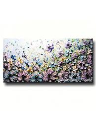 Large Home Decor Original Art Abstract Painting Lavender Flowers Mint Green Purple