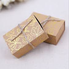 candy bags kraft paper wedding favor candy bags with printed gold leaves and