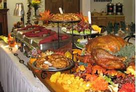 thanksgiving buffet table decoration ideas with table cover plus