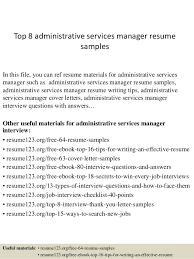 top 8 administrative services manager resume samples 1 638 jpg cb u003d1428675149