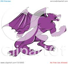 clipart of a cartoon purple angry kludde wolf dog with bat wings