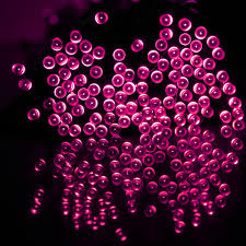 Red Solar Lights by Zitrades 100 Led 17m 55ft Fairy Solar Power Led String Lights Pink