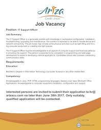 It Support Resume Job Vacancy U2013 It Support Officer U2013 Ariza Credit Union