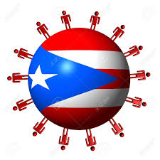 Puerto Rico Flag Circle Of People Around Puerto Rico Flag Sphere Stock Photo