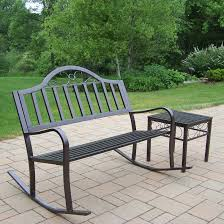 oakland living rochester 50 in tubular iron rocking bench in