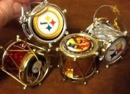 pittsburgh steelers christmas ornament set of 4 drums ebay