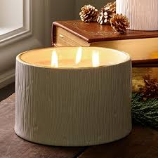 thymes candles thymes frasier fir ceramic poured 3 wick pillar candle 17 oz