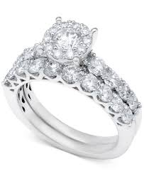 wedding ring sets diamond bridal ring set in 14k white gold or gold 2 ct t w