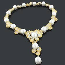 pearl necklace with diamond images Designer pearl necklaces diamond flower necklace 14 26ct 18k gold jpg