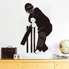 online shop cricketer wall sticker black silhouette kids bedroom