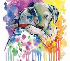 colorful dalmatian watercolor print home decor dog