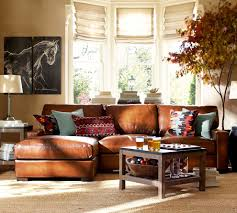 Kilim Rug Pottery Barn by Decorating Pottery Barn Living Room With Brown Leather Sectional