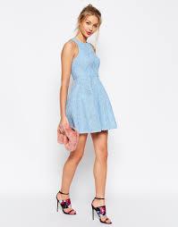 light blue mini dress lyst asos bonded lace high neck lantern mini dress in blue