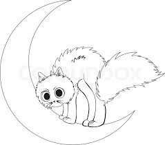 cat sits on moon stock vector colourbox