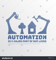 home automation logo design simplified monochome poster automation robotshands serve stock