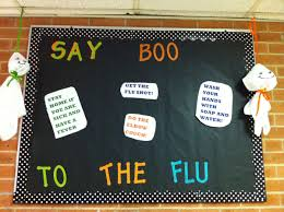 say boo to the flu halloween nurse bulletin board
