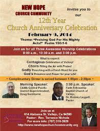 12th year church anniversary celebration new church