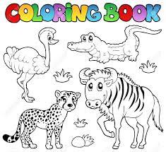 coloring book savannah animals 2 vector illustration royalty