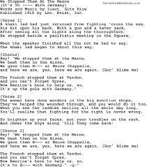 Maps Lyrics World War One Ww1 Era Song Lyrics For We Stopped Them At The Marne