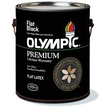 shop olympic black flat latex interior paint actual net contents