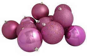 12ct bubblegum pink shatterproof 4 finish ornaments